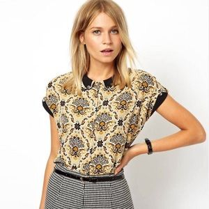 ASOS Contrast Curved Collar Paisley Print Blouse